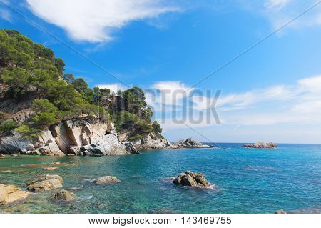 Coast with rocks at Costa Brava in Spain