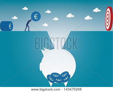 Filling up coins to piggy bank for investment in the future. Concept business illustration. Vector flat