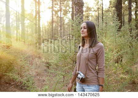 Young Girl Wandering In The Woods
