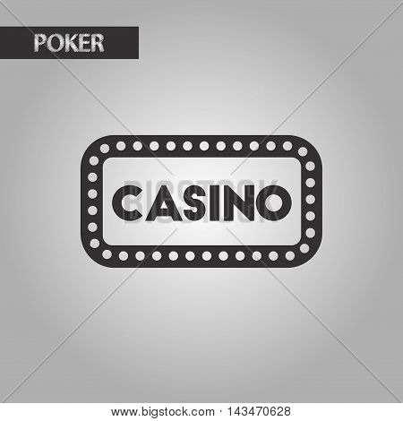 black and white style poker casino sign