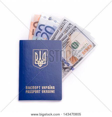 Ukrainian International Passport With Banknotes