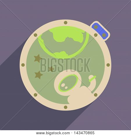 Flat web icon with long  shadow cosmonaut