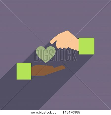 Flat web icon with long  shadow heart hands