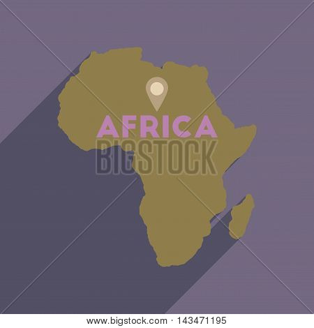 Flat web icon with long  shadow Africa