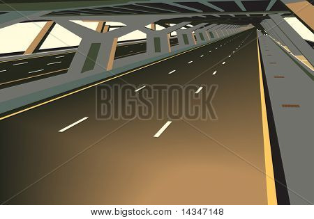 Vector illustration of a carless highway and concrete structure