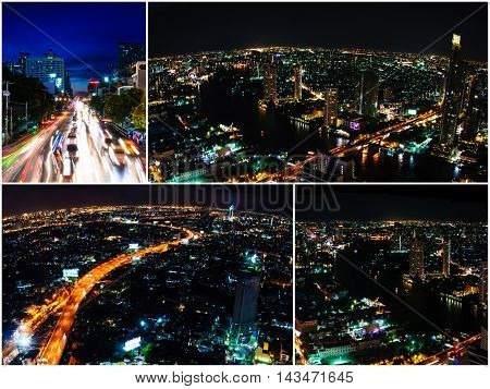 Photo collage of Bangkok city scape at nighttime