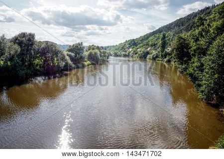Big river with trees on about useful as a background or packaging