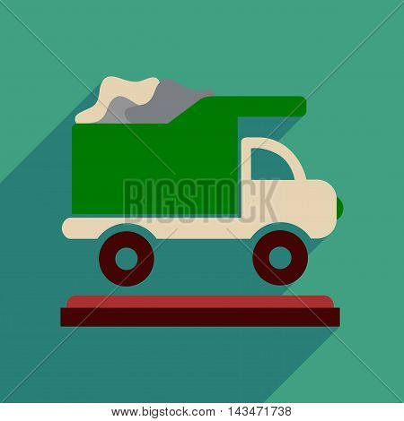 Flat web icon with long  shadow garbage truck