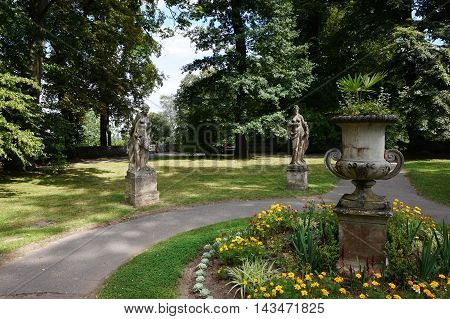 small nice green park near Prague suitable as a container or background