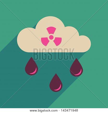 Flat web icon with long  shadow toxic rain