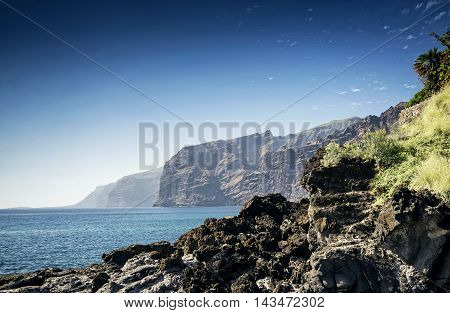 los gigantes cliffs coast natural landmark and scenery in south tenerife island spain