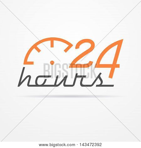 Isolated 24 hours label in graphic style with stylized clock and shadow. Emblem vector stock image.