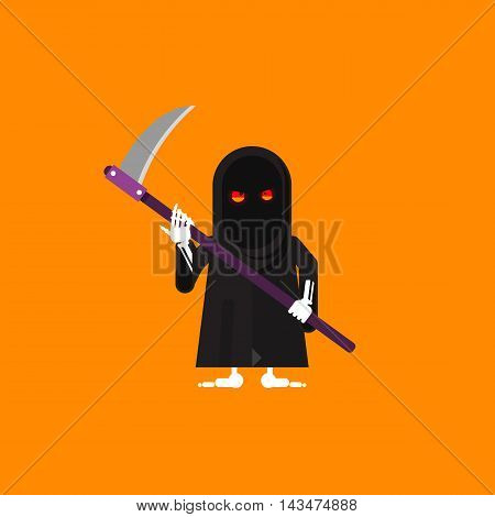 Stock vector illustration a scytheman character for halloween in a flat style