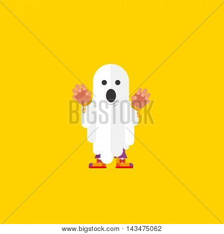 Stock vector illustration a ghost character for halloween in a flat style