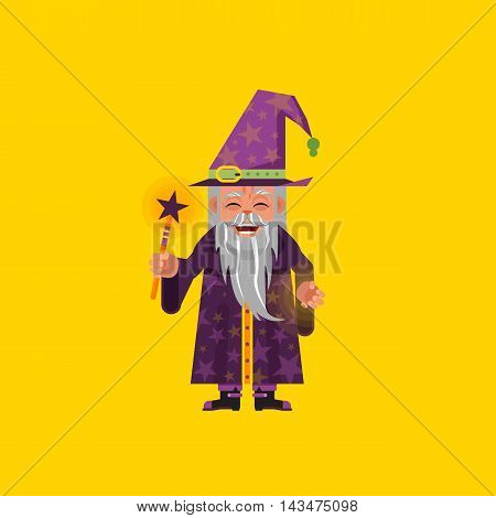 Stock vector illustration a magician character for halloween in a flat style