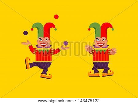 Stock vector illustration a jester character for halloween in a flat style