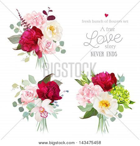 Surprise bouquets of rose peony green and pink hydrangea orchid and eucalyptus leaves. Romantic gifts vector design set.
