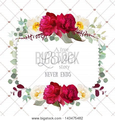 Square floral vector frame with peony wild rose mint eucaliptus and burgundy red leaves on white. Autumn card with flowers. Simple backdrop with diagonal lines and small princess crowns.