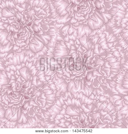 Beautiful seamless background with pink carnation. Hand-drawn with effect of drawing in watercolor