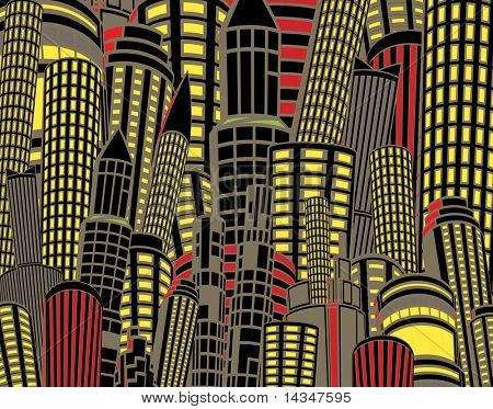 Illustration of tall city buildings at night