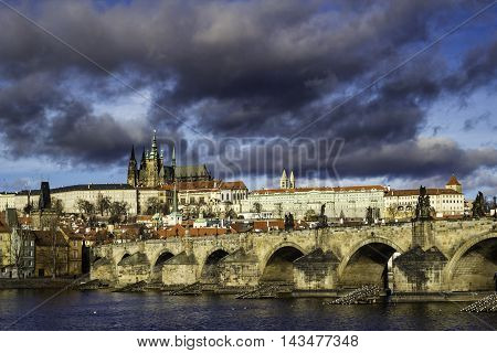 Skyline of Prague Castle and famous Charles bridge and houses Hradcany. Old town of Prague Czech Republic Europe