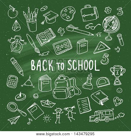 Concept of education. School background with hand drawn school supplies on green blackboard. Back to school.