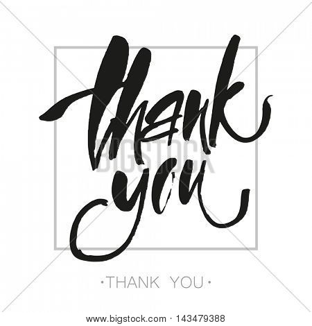 THANK YOU. Thank you. Handwritten brush pen lettering isolated on white background. Hand lettering handmade calligraphy. Brush painted letters. Vector illustration.
