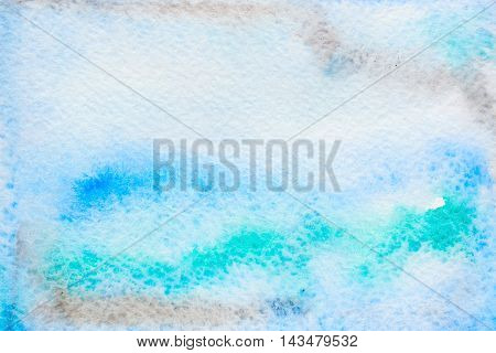 Abstract background original art watercolor painting. Paper texture with brown green and blue stains. Colorful handmade technique aquarelle.