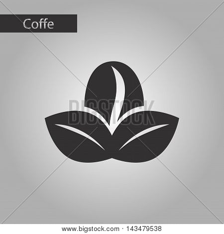 black and white style icon coffee bean leaves