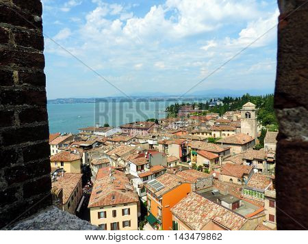view on Garda Lake from Scaligero's Castel