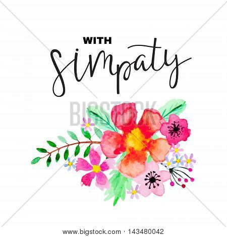 Greeting card with floral ornament and lettering