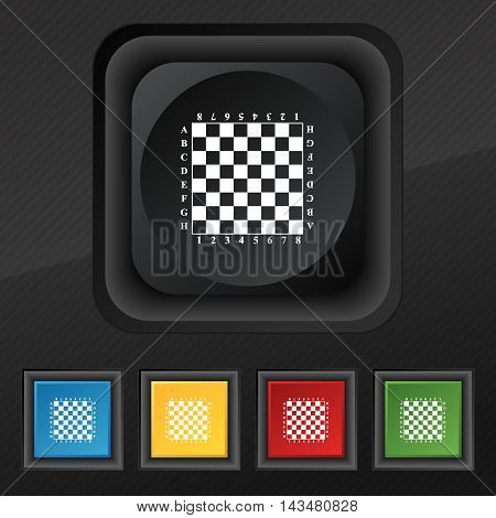Modern Chess board icon symbol. Set of five colorful stylish buttons on black texture for your design. Vector illustration