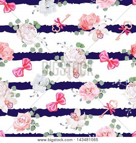 Striped navy seamless vector print with red satin bows and flowers. Rose peony camellia carnation anemone eucaliptus leaves.