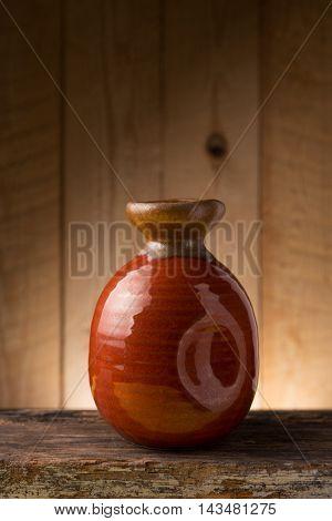 Japanese Sake drinking set on wood texture background