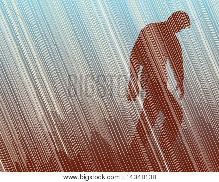 Editable vector illustration of a man walking in torrential rain