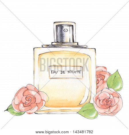Bottle of perfume. Ink and watercolor sketch 6. Isolated on white background