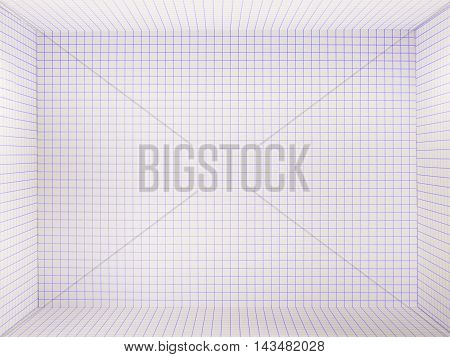 3d checkered empty background. Blue grid .
