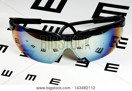 Sunglasses laying over an eyechart showing reflections of the letters