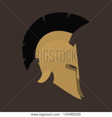 Antiques Roman or Greek Helmet Isolated, Helmet with a Crest of Feathers or Horsehair with Slits for the Eyes and Mouth, Design Element ,Vector Illustration