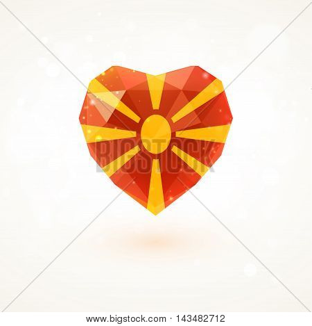 Flag of Macedonia in shape of diamond glass heart in triangulation style for info graphics, greeting card, celebration of Independence Day, printed materials