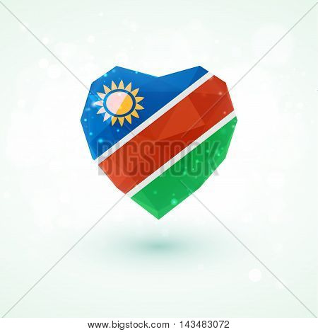Flag of Namibia in shape of diamond glass heart in triangulation style for info graphics, greeting card, celebration of Independence Day, printed materialsFlag of Laos in shape of diamond glass heart in triangulation style for info graphics, greeting card