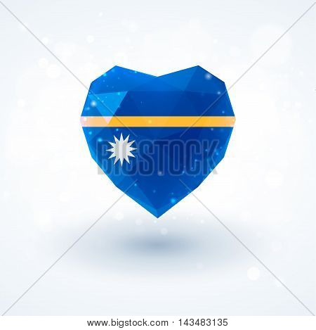 Flag of Nauru in shape of diamond glass heart in triangulation style for info graphics, greeting card, celebration of Independence Day, printed materialsFlag of Laos in shape of diamond glass heart in triangulation style for info graphics, greeting card,