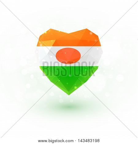 Flag of Niger in shape of diamond glass heart in triangulation style for info graphics, greeting card, celebration of Independence Day, printed materialsFlag of Laos in shape of diamond glass heart in triangulation style for info graphics, greeting card,