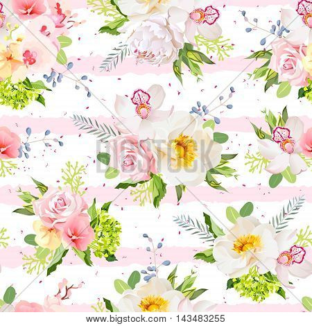 Summer garden flowers seamless vector design pattern. Pink and white striped background with red speckles.