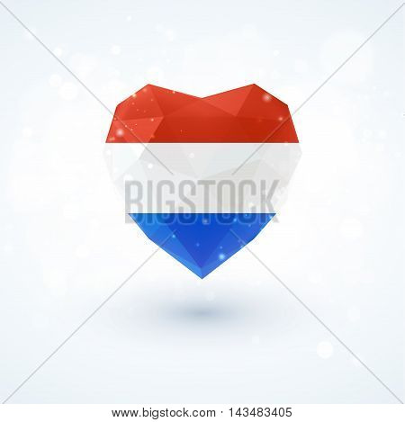 Flag of the Netherlands in shape of diamond glass heart in triangulation style for info graphics, greeting card, celebration of Independence Day, printed materials