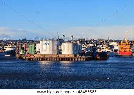 ABERDEEN SCOTLAND - 30 January 2016: Big supply boats in Abeerden harbor on 30 January 2016. Aberdeen port is one of the busiest ports in UK.