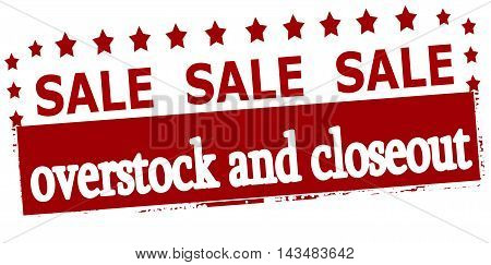 Rubber stamp with text sale overstock and closeout inside vector illustration