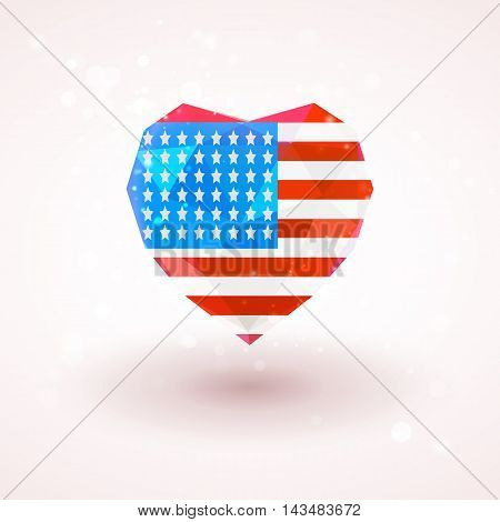Flag of USA in shape of diamond glass heart in triangulation style for info graphics, greeting card, celebration of Independence Day, printed materials