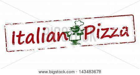 Rubber stamp with text Italian pizza inside vector illustration