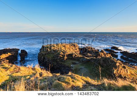 Rock Sea and Wave at the North Sea Coast in Aberdeen Scotland